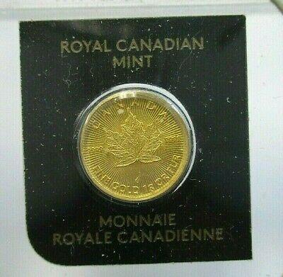 RARE 2018 GOLD CANADIAN MAPLE LEAF 50 CENT 1g .999 PUR