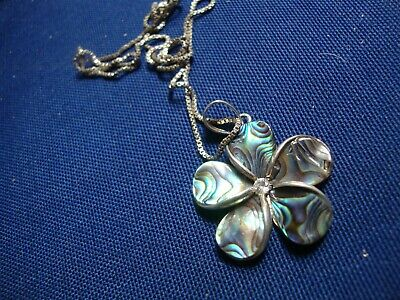 Grandmas Estate 925 Sterling Silver Abalone Chunky Necklace