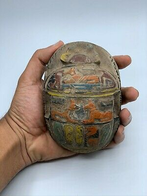 EGYPT EGYPTIAN SCARAB ANTIQUES Hieroglyphs Beetle Khepri RELIEF Carved STONE BC