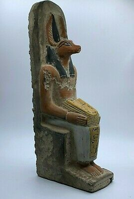 RARE EGYPTIAN EGYPT ANTIQUES ANUBIS God Deity Dog STATUE Carved 3.Kg STONE BC
