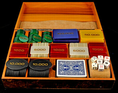 Lancome French Burled Walnut Case of Poker Plaques - 1970s - 241 chips - 6 types