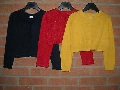 MOTHERCARE & GAP Girls Navy Blue Yellow Red Cardigans Bundle Age 3-4 104cm