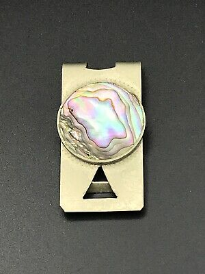 Vintage 925 Taxco Mexico Sterling Silver & Abalone Money Clip. Signed