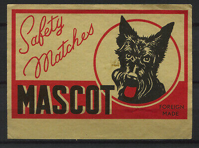 Mascot Dog Safety Matches Foreign Made Vintage Matchbox Label Big Size