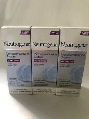 3 NEUTROGENA MICRODERMABRASION SYSTEM PUFF REFILLS 24 CT (6 Months Supply)