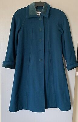 Braetan Kids Girls Vintage Wool Coat 8 Size Long Sleeve Turquoise Color