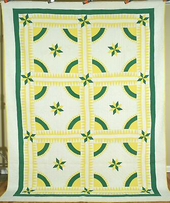 Large, Well Quilted Vintage 40's New York Beauty Antique Quilt ~GREAT COLORS!