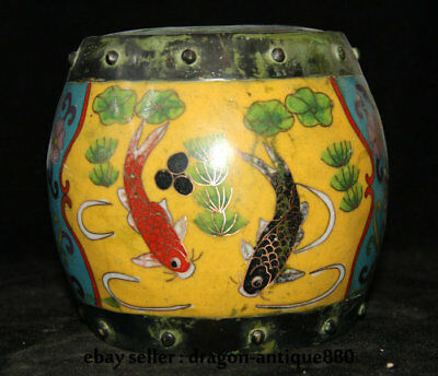 """6"""" Qianlong Marked Old China Cloisonne Enamel Fish Drum Pot Tea Canister Boxes"""