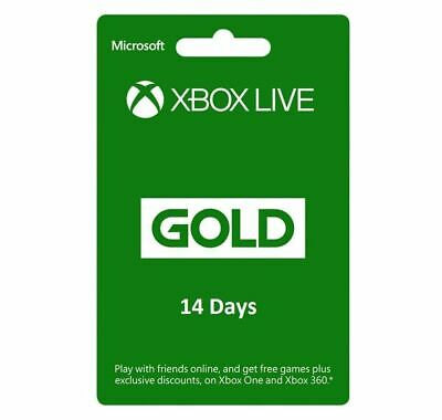 Microsoft 14 days Xbox live gold membership Subscription for xbox one xbox 360