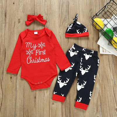 Christmas Toddler Infant Baby Boys Girls Romper Tops Pants Hat Outfits Clothes