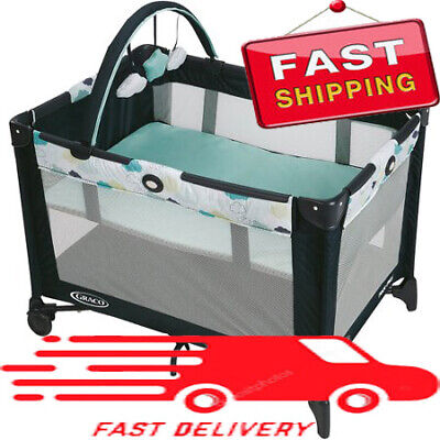Graco Pack 'n Play On The Go Playard With Bassinet, Stratus, Comfortable....