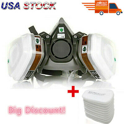 US 17 IN 1 Half Face Mask for 3M 6200 Gas Painting Spray Protection Respirator