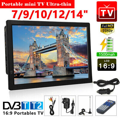 "7""-14"" Ultra-thin Portable 1080P 12V HD Digital TV Freeview Television Player"