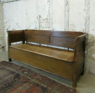 Antique Pine Hungarian Settle, Pew Storage Bench