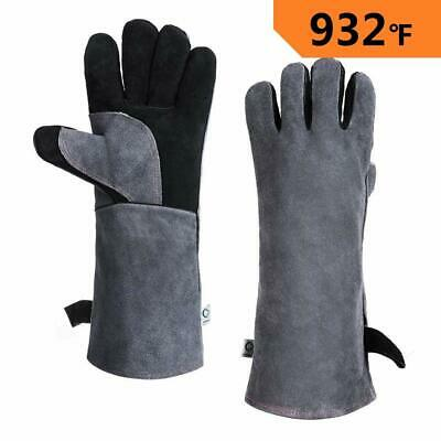 16'' Welding Gloves Heavy Duty 932°F Heat Resistant Leather Stoves Fire