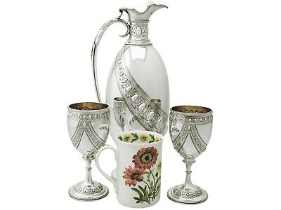 Antique Sterling Silver Claret Jug and Matching Goblets (1873)