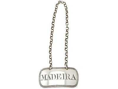 Georgian Newcastle Sterling Silver 'Madeira' Decanter Label / Bottle Ticket