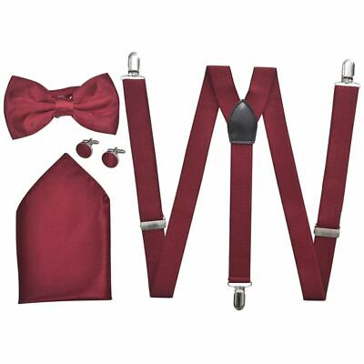 vidaXL Set Elegante Accessori Smoking Uomo Rosso Bordò Bretelle Papillon