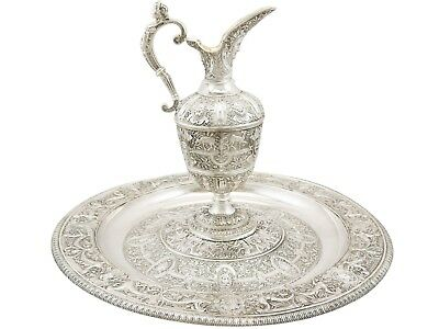 Antique Victorian Sterling Silver Wine Jug and Charger Plate Set London 1851