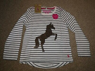 Gorgeous Joules Unicorn Top With Reversible Sequins Aged 5yrs