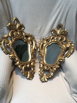 Pair Of Antique Carved Gilt Wood  Italian Mirrors  58 X 34 Cm