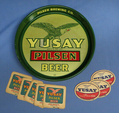 Vintage Yusay Pilsen Beer Metal Tray Pilsen Brewing Co Chicago IL. w/Coasters