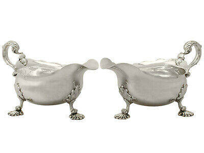 Sterling Silver Sauce Boats - Antique George II -  676g Height 10cm
