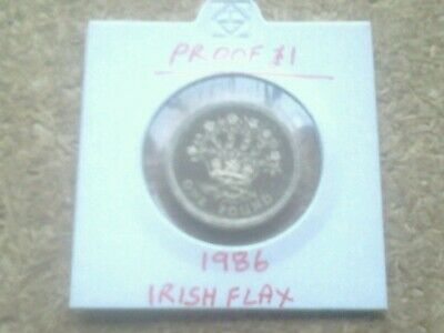 1986 PROOF IRISH FLAX ONE POUND £1 COIN in coin holder.