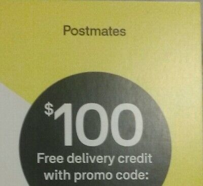 $100 Postmates Delivery Credit New Customers Purchase Valid 14 Days From 1St Use
