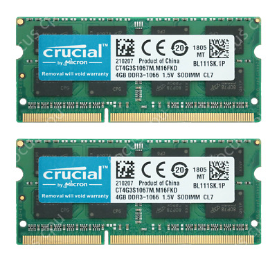 Crucial 8GB KIT 2X 4GB 1067Mhz For Apple MacBook Pro 2009 Early A1297 Memory Ram