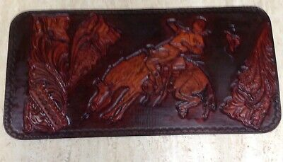 Leather Carving Western Cowboy Bronco Rider Vintage Rodeo Rider