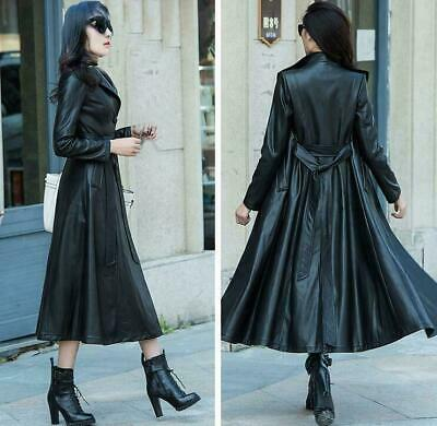 Fashion Womens Leather Long Lapel Collar Overcoat Jacket Outwear Trench Coat Hot