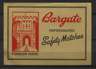 Bargate Safety Matches Foreign Made Vintage Matchbox Label Big Size