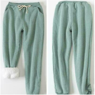 Hot Women Thicken Lamb Fur Lined Loose Sports Pants Sweatpants Joggers Trousers