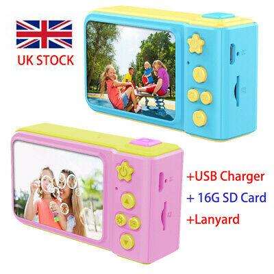 "Kids Digital HD Camera 2"" Color Display Child Girl Birthday Gift + 16GB SD Card"