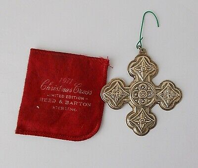Reed & Barton 1971 Sterling Silver Christmas Cross ORNAMENT w/ Pouch