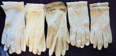 Vintage Antique Ladies Gloves 1940's/1950's (5) pair Ornate Sz Small