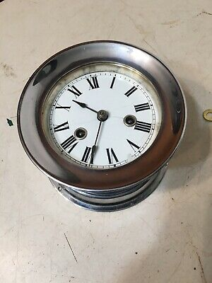 Rare Antique Waterbury Nickel Plated Ships Clock