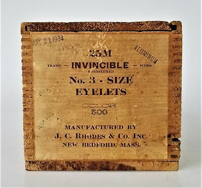 1934 antique INVINCIBLE EYELET WOOD CRATE BOX new bedford ma sewing r c rhodes