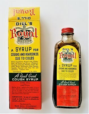 antique DILL'S ROYAL COUGH SYRUP norristown pa UNUSED BOTTLE BOX quack medicine