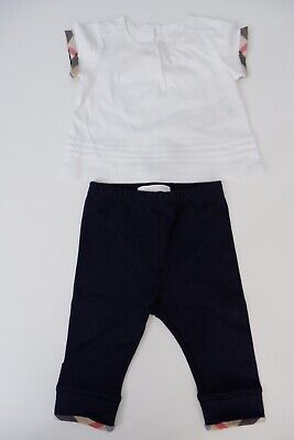 Burberry Baby Girls Outfit, Size Age 6 Months, Top & Trousers, Blue & White