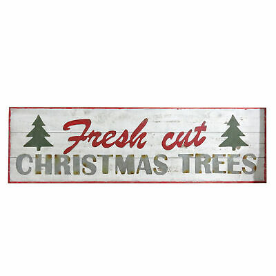 Festive Decorative Wooden Plaque with 'Fresh Cut Christmas Trees' Design