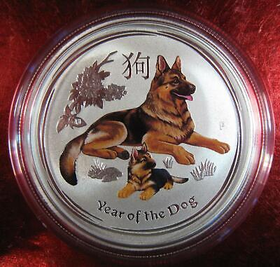 "2018 Silver Australian ""Year of the Dog"" Colorized 1/2 OZ. Perth Mint Gorgeous"