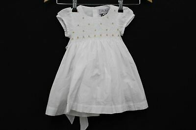 LILY ROSE Girls Kid White Rose Hand Smoked Lily Short Sleeve Dress 9-12M NEW