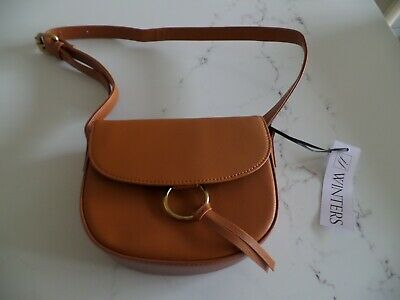 NWT Latest JJ WINTERS brown leather cross body small bag