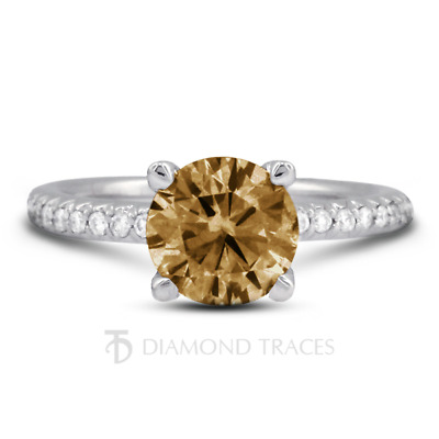 1.34ct Brown SI1 Round Natural Certified Diamonds 18k Gold Classic Accent Ring