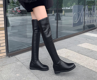 Womens Gothic Zipper Over The Knee High Riding Boots Buckle Thigh Boots 4.5-10.5