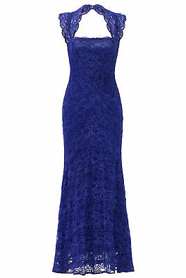 Nicole Miller Blue Women's Size 6 Open Back Floral Lace Gown Dress $960- #120