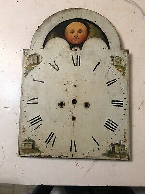 Antique Grandfather Clock Dial C. 1800's Hand Painted Houses Moon Print