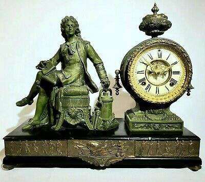 Denis Papin - Antique Ansonia Cast Metal Figural Mantle Clock ca.1895